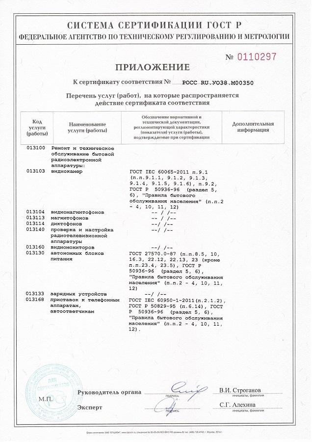 ИТ СЕРВИС Сертификат