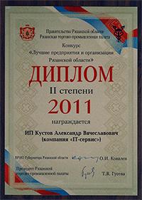 """Диплом """"Лучшие предприятия и организации Рязанской области"""""""